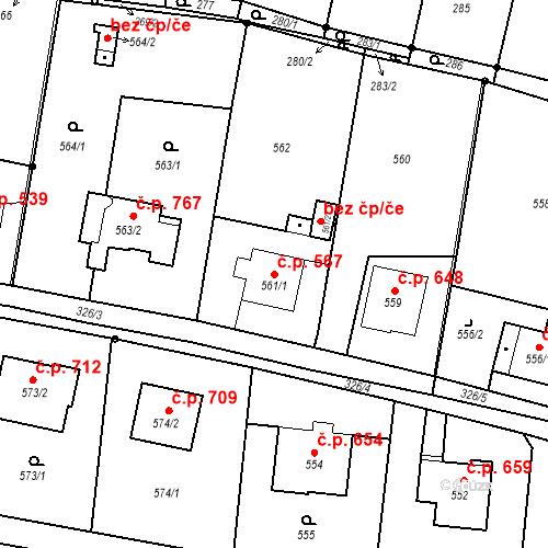 Katastrální mapa Stavební objekt Skřečoň 567, Bohumín