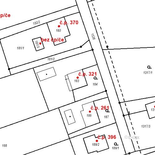 Katastrální mapa Stavební objekt Záblatí 321, Bohumín