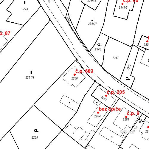 Katastrální mapa Stavební objekt Skřečoň 683, Bohumín