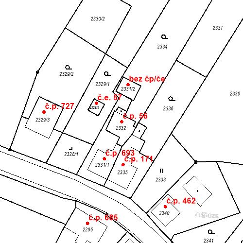 Katastrální mapa Stavební objekt Skřečoň 56, Bohumín