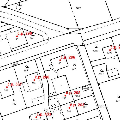 Katastrální mapa Stavební objekt Záblatí 286, Bohumín