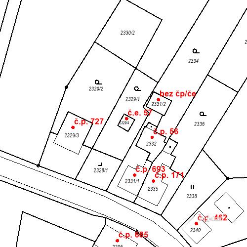 Katastrální mapa Stavební objekt Skřečoň 57, Bohumín