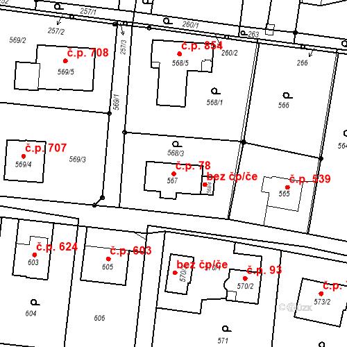 Katastrální mapa Stavební objekt Skřečoň 78, Bohumín