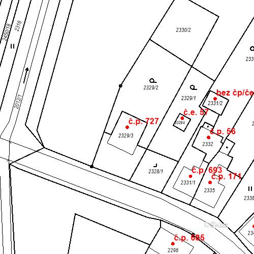 Katastrální mapa Stavební objekt Skřečoň 727, Bohumín