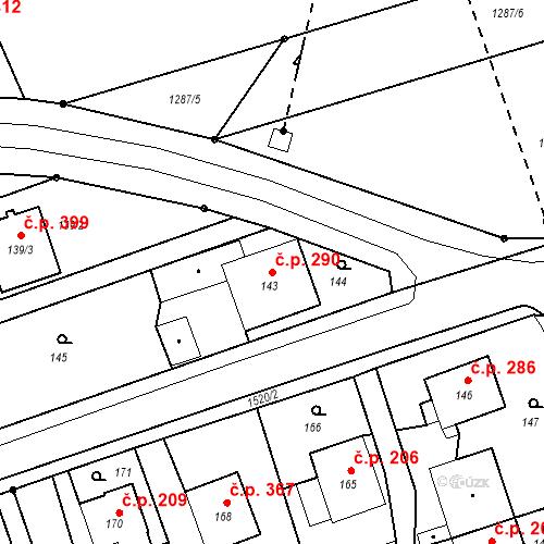 Katastrální mapa Stavební objekt Záblatí 290, Bohumín