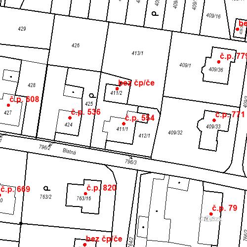Katastrální mapa Stavební objekt Skřečoň 554, Bohumín