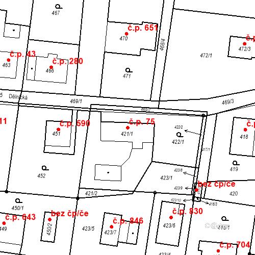 Katastrální mapa Stavební objekt Skřečoň 75, Bohumín