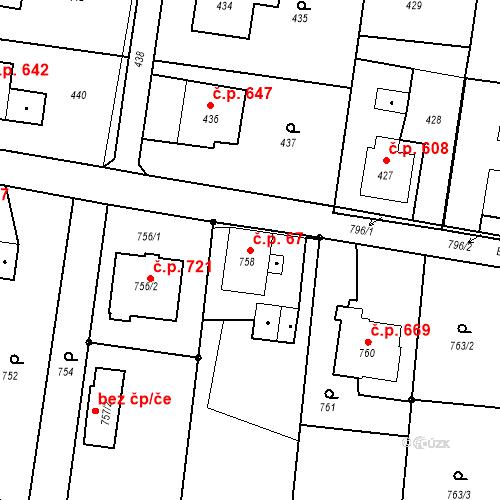 Katastrální mapa Stavební objekt Skřečoň 67, Bohumín