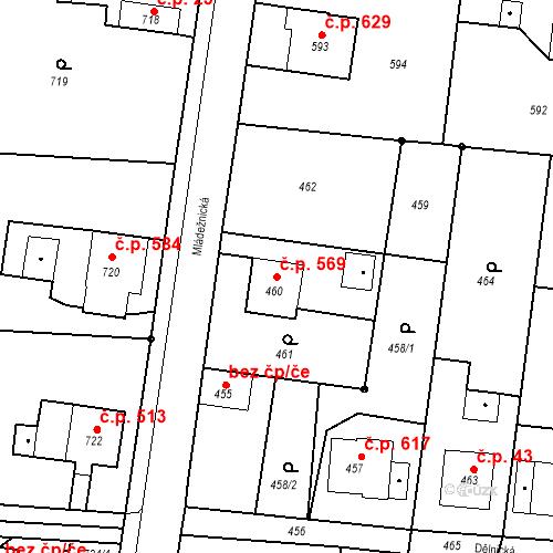 Katastrální mapa Stavební objekt Skřečoň 569, Bohumín