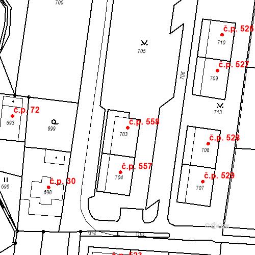 Katastrální mapa Stavební objekt Skřečoň 558, Bohumín
