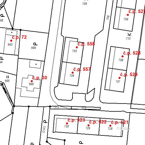 Katastrální mapa Stavební objekt Skřečoň 557, Bohumín
