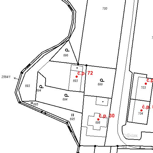 Katastrální mapa Stavební objekt Skřečoň 72, Bohumín
