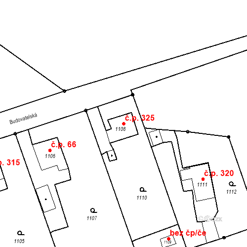 Katastrální mapa Stavební objekt Záblatí 325, Bohumín