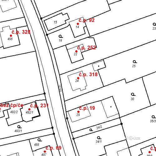 Katastrální mapa Stavební objekt Záblatí 318, Bohumín
