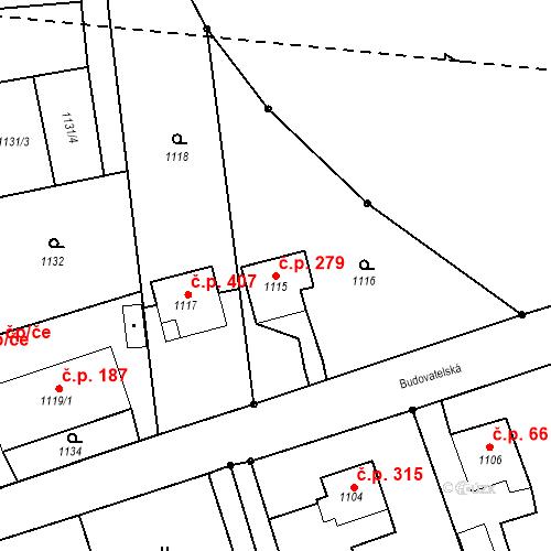 Katastrální mapa Stavební objekt Záblatí 279, Bohumín