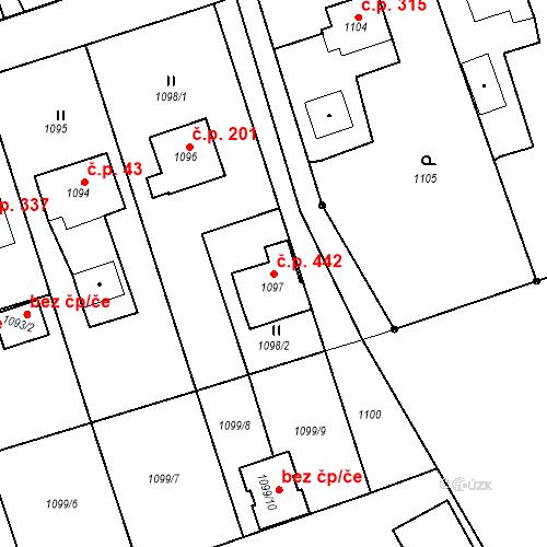 Katastrální mapa Stavební objekt Záblatí 442, Bohumín