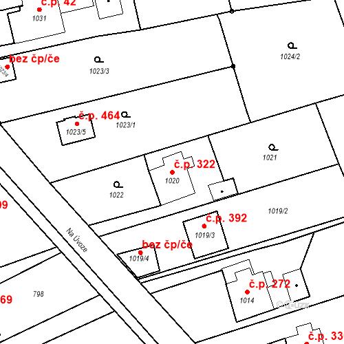 Katastrální mapa Stavební objekt Záblatí 322, Bohumín