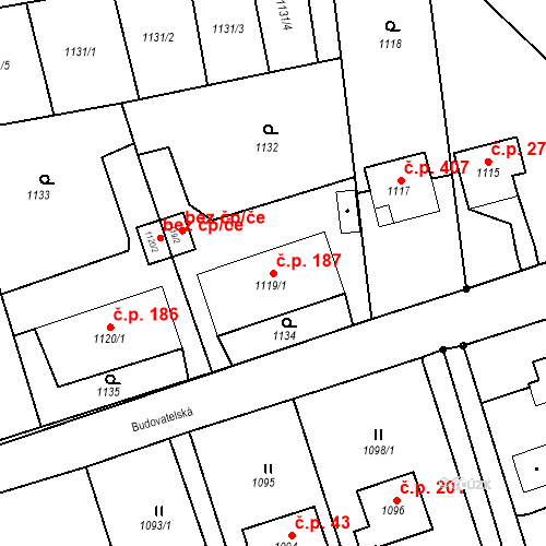 Katastrální mapa Stavební objekt Záblatí 187, Bohumín