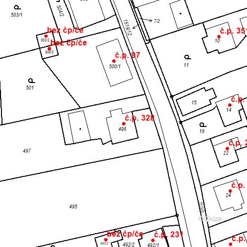 Katastrální mapa Stavební objekt Záblatí 328, Bohumín
