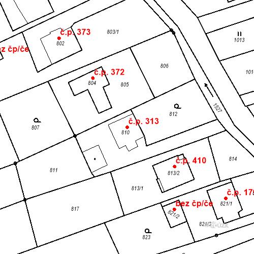 Katastrální mapa Stavební objekt Záblatí 313, Bohumín