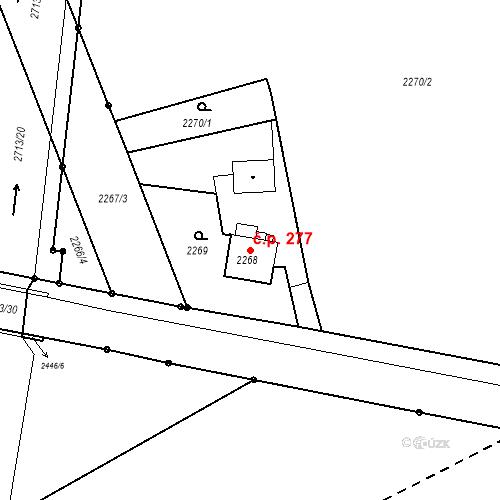 Katastrální mapa Stavební objekt Šunychl 277, Bohumín