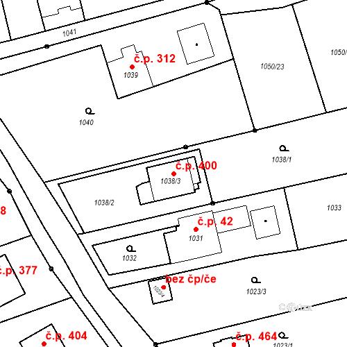 Katastrální mapa Stavební objekt Záblatí 400, Bohumín