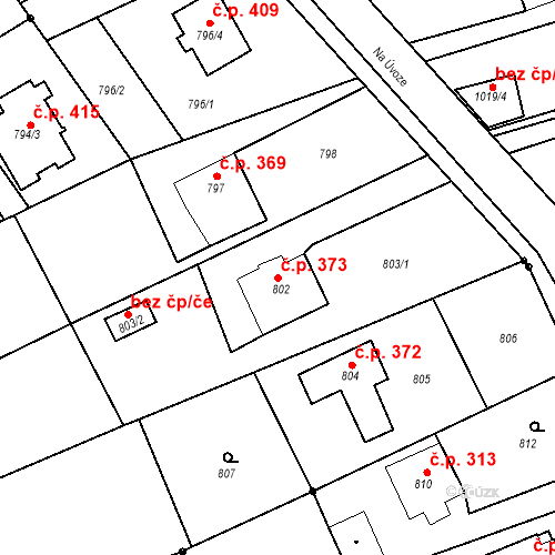 Katastrální mapa Stavební objekt Záblatí 373, Bohumín