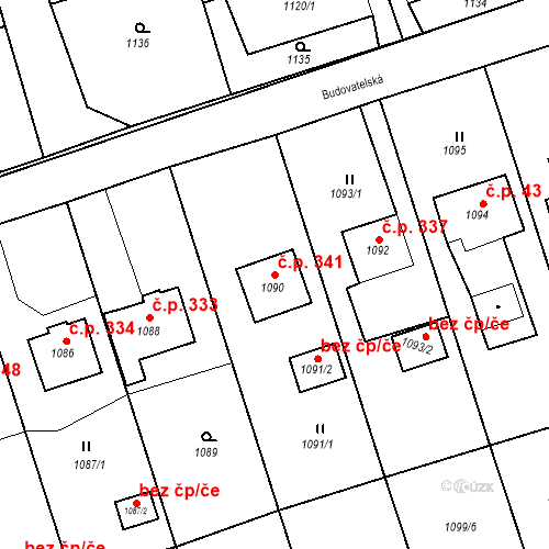 Katastrální mapa Stavební objekt Záblatí 341, Bohumín