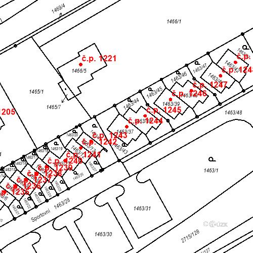 Katastrální mapa Stavební objekt Nový Bohumín 1244, Bohumín