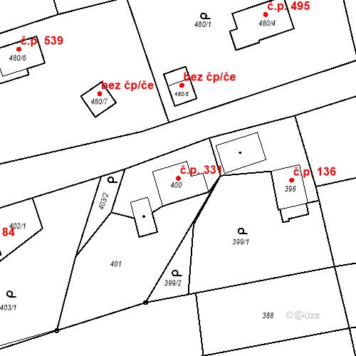 Katastrální mapa Stavební objekt Záblatí 331, Bohumín