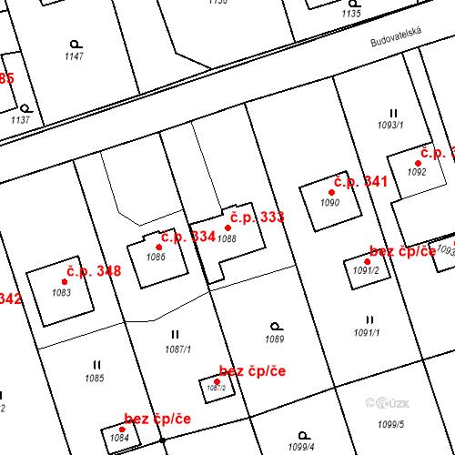 Katastrální mapa Stavební objekt Záblatí 333, Bohumín