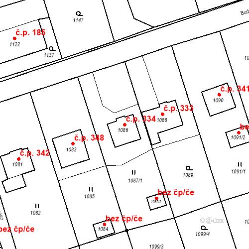 Katastrální mapa Stavební objekt Záblatí 334, Bohumín