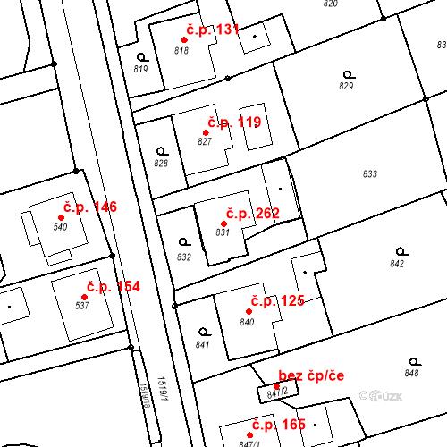 Katastrální mapa Stavební objekt Záblatí 262, Bohumín