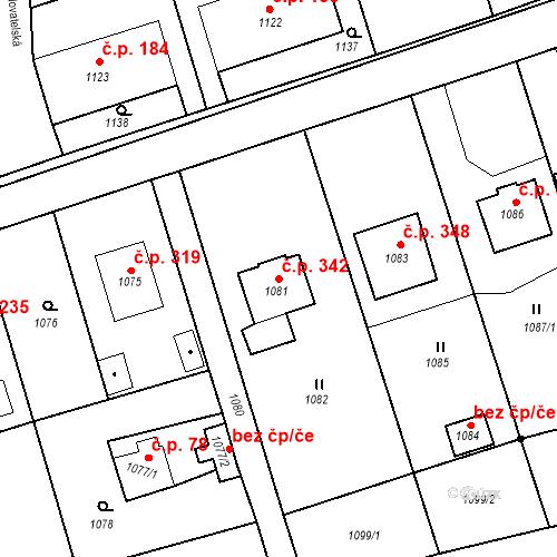Katastrální mapa Stavební objekt Záblatí 342, Bohumín