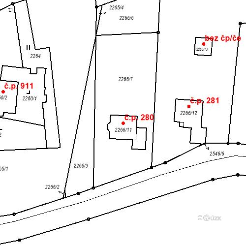 Katastrální mapa Stavební objekt Šunychl 280, Bohumín