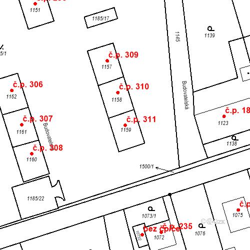 Katastrální mapa Stavební objekt Záblatí 311, Bohumín
