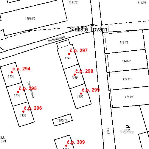 Katastrální mapa Stavební objekt Záblatí 298, Bohumín