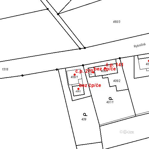 Katastrální mapa Stavební objekt Záblatí 270, Bohumín