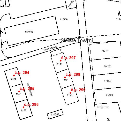 Katastrální mapa Stavební objekt Záblatí 297, Bohumín