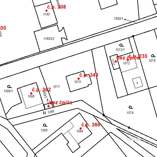 Katastrální mapa Stavební objekt Záblatí 349, Bohumín