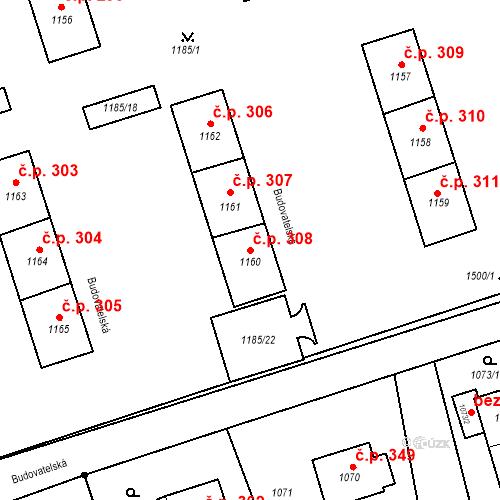 Katastrální mapa Stavební objekt Záblatí 308, Bohumín