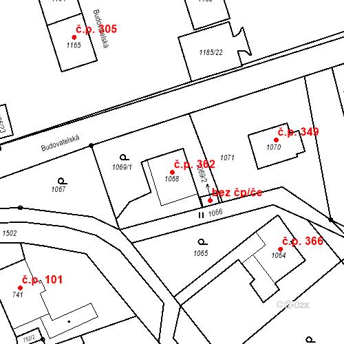Katastrální mapa Stavební objekt Záblatí 362, Bohumín