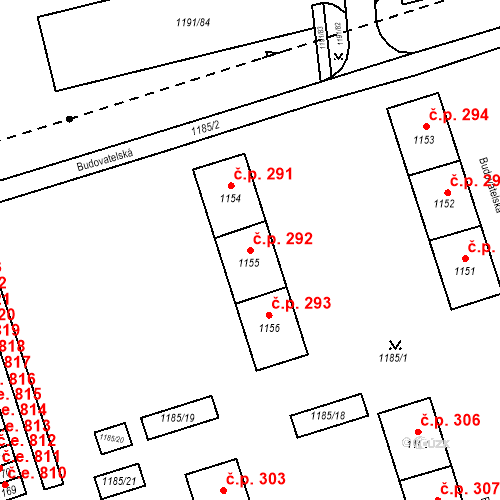 Katastrální mapa Stavební objekt Záblatí 292, Bohumín