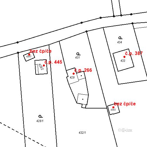 Katastrální mapa Stavební objekt Záblatí 266, Bohumín