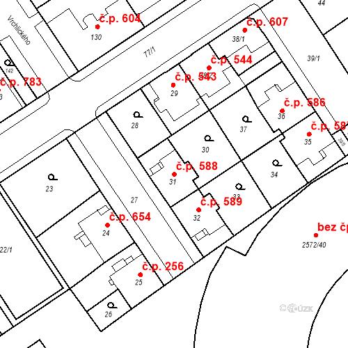Katastrální mapa Stavební objekt Nový Bohumín 588, Bohumín