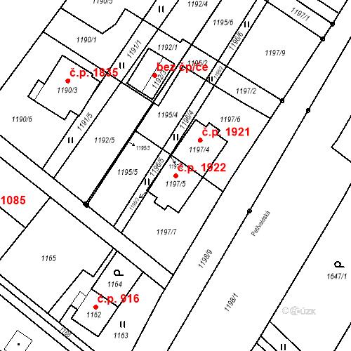Katastrální mapa Stavební objekt Šenov 1922, Šenov