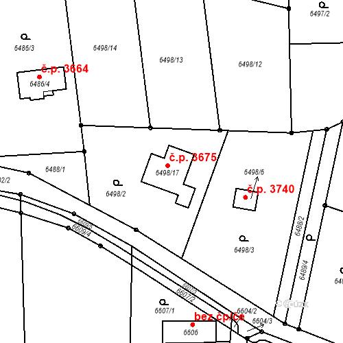 Katastrální mapa Stavební objekt Frýdek 3675, Frýdek-Místek