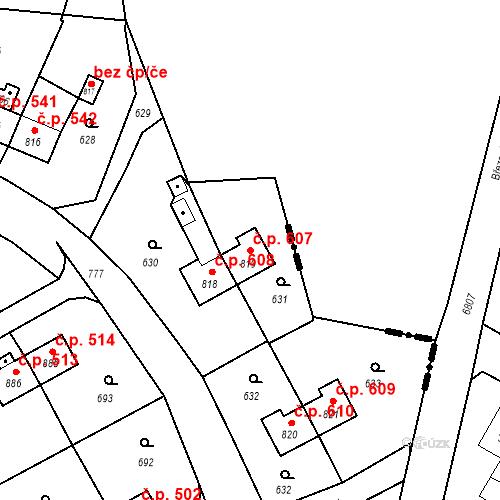 Katastrální mapa Stavební objekt Heřmanice 607, Ostrava