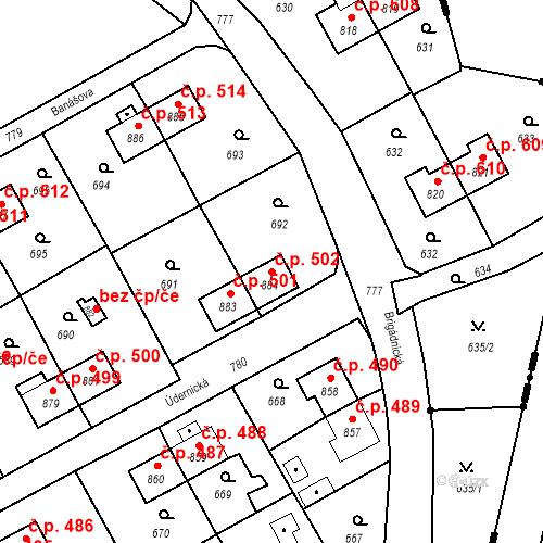 Katastrální mapa Stavební objekt Heřmanice 502, Ostrava