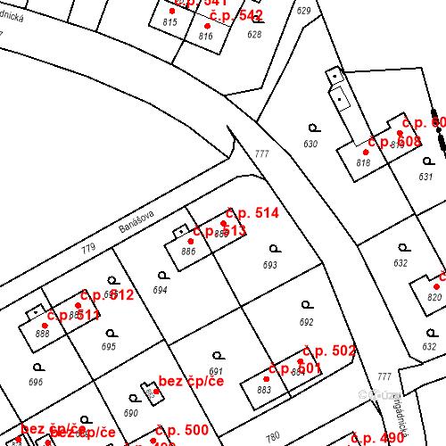 Katastrální mapa Stavební objekt Heřmanice 514, Ostrava